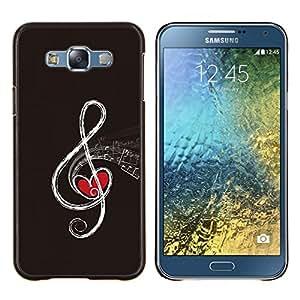 Nota musical- Metal de aluminio y de plástico duro Caja del teléfono - Negro - Samsung Galaxy E7 / SM-E700