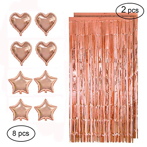 Party Foil Decorations, Ztent Tinsel Foil Fringe Backdrop Curtain With Foil Balloons For Birthday Party, Wedding Decor, Bridal Shower, Baby Shower, Graduation Party Supplies (Rose Gold)