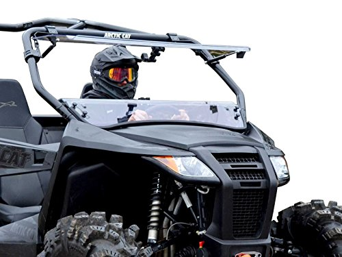 (SuperATV Heavy Duty Scratch Resistant 3-IN-1 Flip Windshield for Arctic Cat Wildcat Trail (2014+) - Can Be Set To 3 Different Positions!)