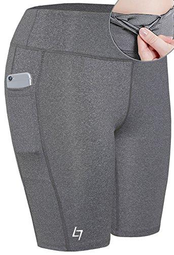 e Fitness Pocket Sports Shorts - Yoga Running Activewear Workout Gym Running Leggings Light Gray XL ()