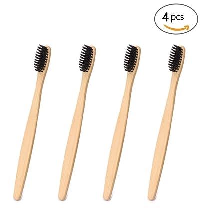 Cepillo de dientes de bambú respetuoso con el medio ambiente, de madera natural,