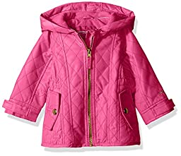 London Fog Baby Girls\' Infant Midweight Multi Quilted Barn Jacket, Fuchsia, 12MO