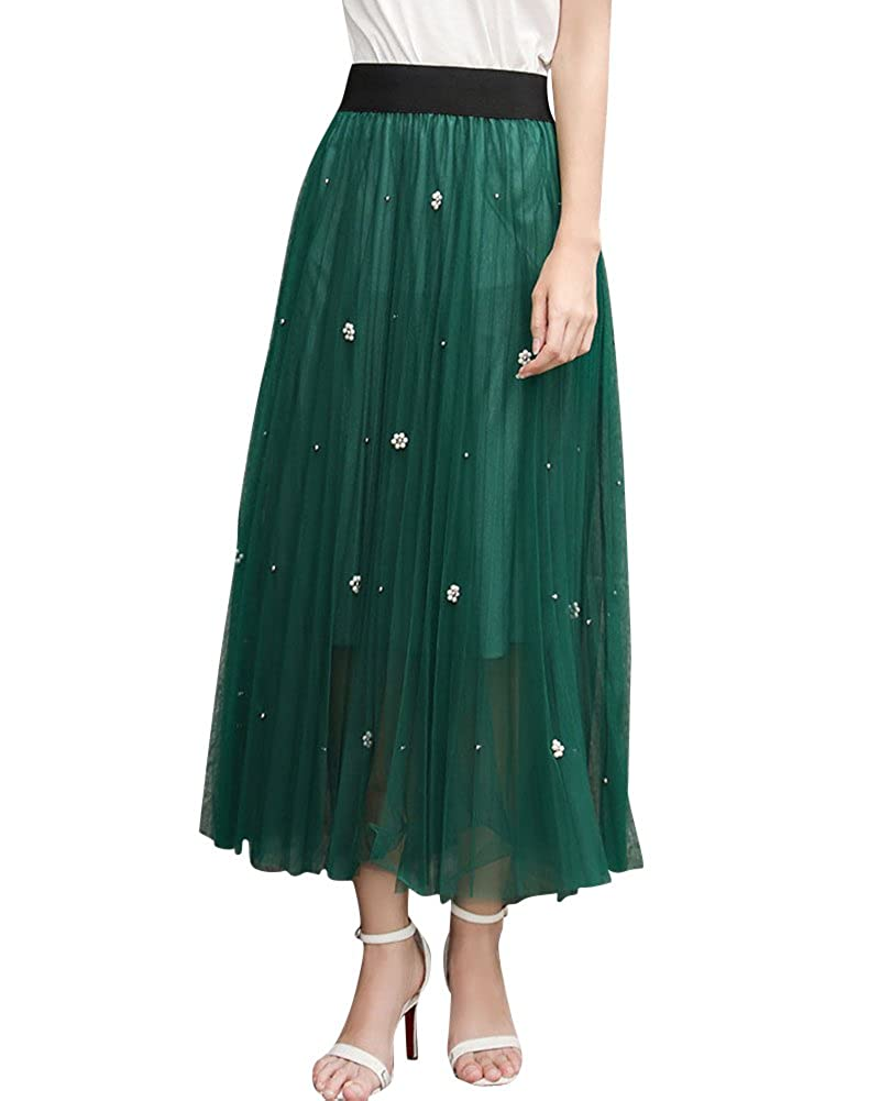 eceec9a3da Women Long Maxi Skirts High Waist 2 Layers A-Line Pleated Beading Tulle  Dress Black: Amazon.co.uk: Clothing