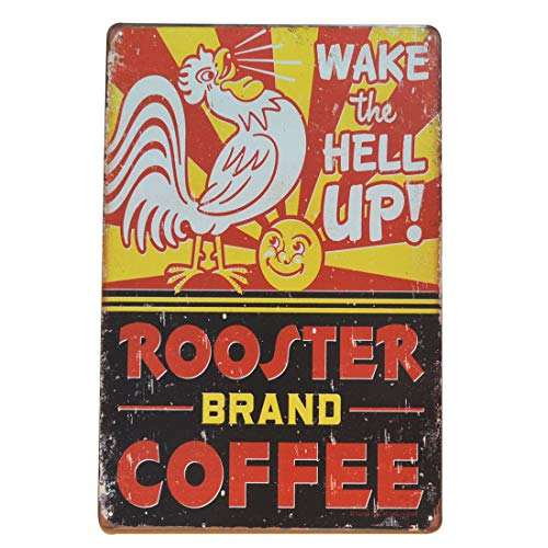 PEI's Retro Vintage Tin Sign, Rooster Brand Coffee, Wall Decor for Home Kitchen Diner Bar Garage, 8