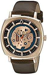 Akribos XXIV Men's AK826RGBR Quartz Movement Watch with Rose Gold and Blue Dial and Brown Leather Strap