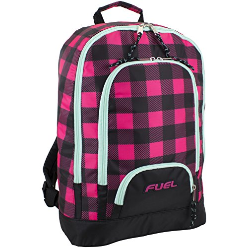 Fuel Girls Multi Pocket Backpack, Black/Mint/Pink Checkerboard Print, One Size