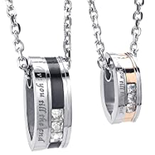 Konov Jewelry 2pcs Lovers Mens Womens Love You Till Be The End CZ Stainless Steel Pendant Love Friendship Necklace Set, Couples Valentines Gift for Him Her, Black Gold Silver, with 18 22 inch Chain, with Gift Bag, C23882