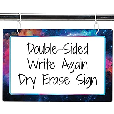 "Really Good Stuff Two-Sided Dry Erase Board Sign - 12"" x 18"" - Outer Space Galaxy Print: Toys & Games"