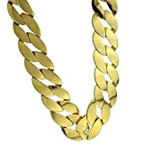 Huge Cuban Chain 25MM Wide Curb Link x 30 Inch Long Gold Finish Big Mens Hip Hop Necklace