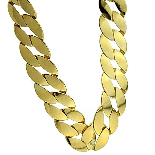 - Huge Cuban Chain 25MM Wide Curb Link x 30 Inch Long Gold Finish Big Mens Hip Hop Necklace