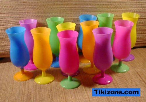 12 Multicolored Tropical Hurricane Glasses ()
