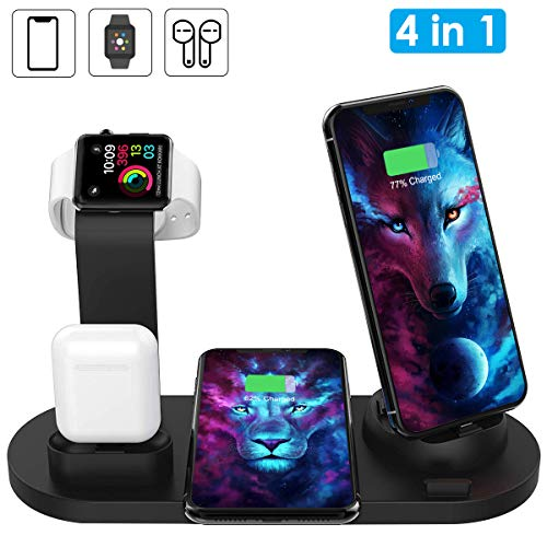 Wireless Charger, AQHQUA 4 in 1 Wireless Charging Stand for Apple Watch and Airpods, Qi Fast Wireless Charging Dock Compatible iPhone X/XS/XR/XsMax/8/8 Plus, 10W Wireless Charging for Samsung