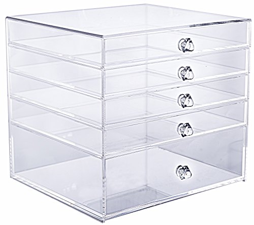 "Cq acrylic 5 Drawer Clear Makeup Organizer,10"" X 9.5"" X 9"" (Pack of 1)"