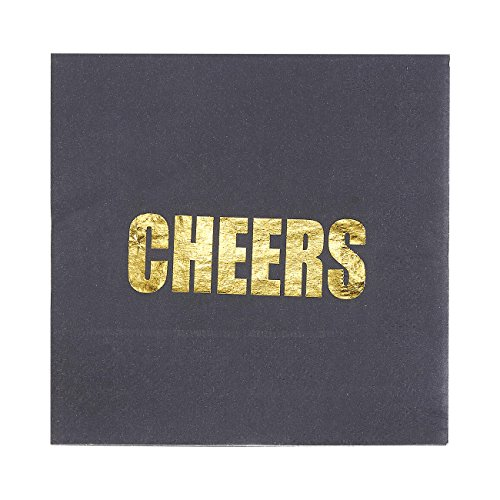 50-Pack Cocktail Napkins - Disposable Paper Party Napkins with Cheers Printed in Gold Foil - Perfect for Birthdays, Bridal, Bachelorette and Anniversary Parties, 5 x 5 Inches Folded, Black
