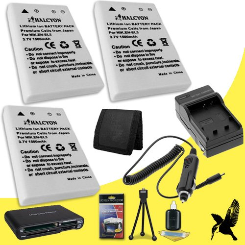 Three Halcyon 1500 mAH Lithium Ion Replacement EN-EL5 Batteries and Charger Kit + Memory Card Wallet + SDHC Card USB Reader + Deluxe Starter Kit for Nikon COOLPIX P530 Digital Camera and Nikon EN-EL5 by Halcyon