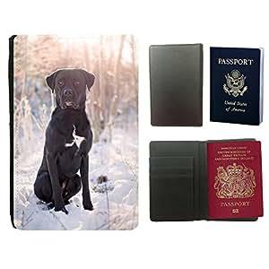 Super Stella PU Leather Travel Passport Wallet Case Cover // M00107305 Black Dog Sunset Animals Winter // Universal passport leather cover