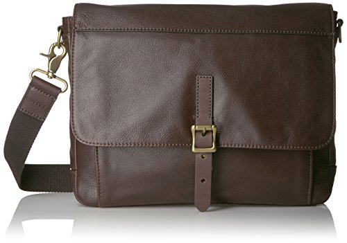 Fossil Defender Leather East West City Bag, Dark Brown by Fossil