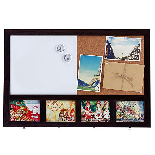 - MyGift Wall-Mounted Wooden Combination Whiteboard & Cork Memo Board with 4 Key Hooks & 4 Picture Frame Slots