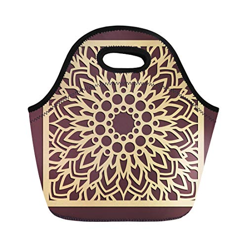 - Semtomn Neoprene Lunch Tote Bag Laser Cutting Panel Golden Floral Pattern Favor Box Silhouette Reusable Cooler Bags Insulated Thermal Picnic Handbag for Travel,School,Outdoors,Work