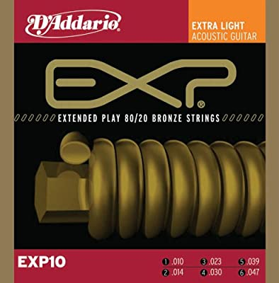 D'Addario EXP10 with NY Steel Acoustic Guitar Strings, 80/20, Coated, Extra Light, 10-47