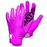 Battle 9328AS Double Threat Football Gloves, Pink/Pink, Small