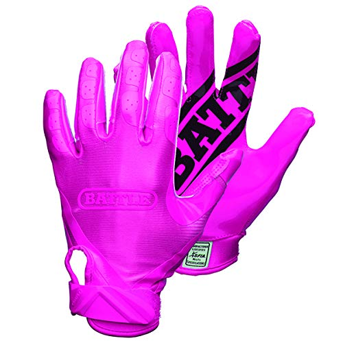 Battle Double Threat Football Gloves - Ultra-Tack Sticky Palm Receivers Gloves - Pro-Style Receiver Gloves, Adult