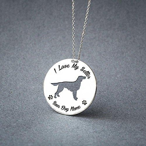 Personalised Irish Setter Disc Necklace - Setter Disc name Jewelry - Dog Jewelry - Dog breed Necklace - Dog ()