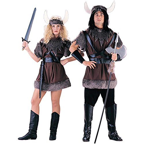 Charades Men's Unisex Panne Velvet Viking Costume, As Shown, (Quick And Easy Couples Halloween Costumes)