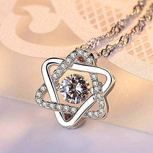 ZZAI Collar De Plata Esterlina S925 - Colgante De Estrella De Seis Puntas Simple - Regalo para Mujer  2351mR