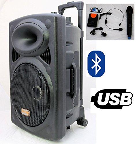 Mak 12' Bluetooth High Power Portable PA Active Speaker System 2 Wireless...