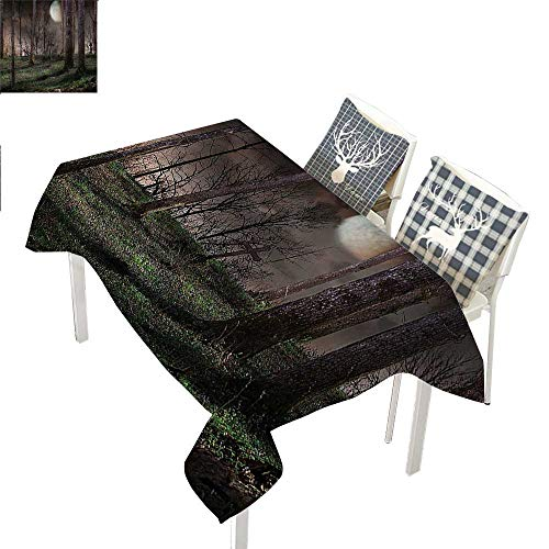 WilliamsDecor Gothic Decor Collection Non Slip Tablecloth Dark Night in The Forest with Full Moon Horror Theme Grunge Style Halloween PhotoBrown Green Yellow Rectangle Tablecloth W60 xL102 inch]()