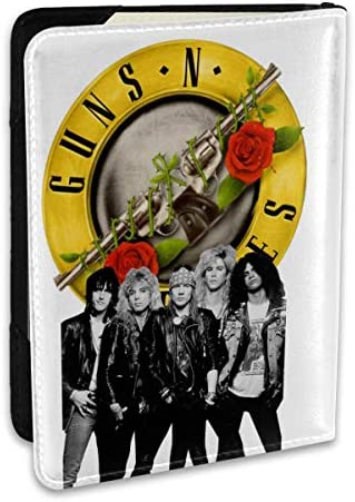 Guns N' Roses ガンズ・アンド・ローゼズ メンバーイラスト パスポートケース パスポートカバー メンズ レディース パスポートバッグ ポーチ 収納カバー PUレザー 多機能収納ポケット 収納抜群 携帯便利 海外旅行 出張 クレジットカード 大容量