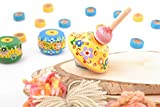 Bright Small Handmade Painted Wooden Spin Top Smart Toy For Children