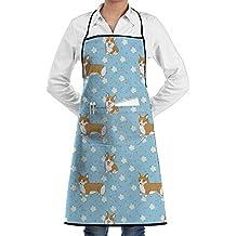 Print Cartoon Corgi Dog Flower Apron Waterproof Resistant With Pocket Cooking Kitchen Aprons For Man Women