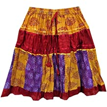 Mogul Womens Skirts Bohemian Yellow Paisley Printed Patchwork Cotton Crinkle Skirt S