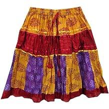 Mogul Womens Skirts Bohemian Yellow Paisley Printed Patchwork Cotton Crinkle Skirt S
