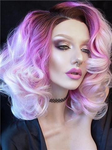 Imstyle mujeres corto cuerpo ondulado púrpura peluca Ombre encaje sintético peluca rosa peluca 16 pulgadas Frente