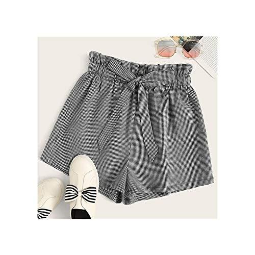 Black and White Paperbag Waist Gingham Belted Shorts Women Summer Cute Ruffle High Waist Wide Leg Plaid Shorts,Black and White,M