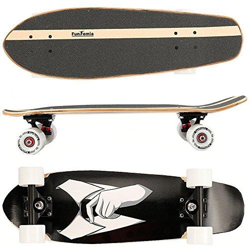 FunTomia Midi-Board Cruiser Skateboard aus 7-lagigem kanadischem Ahornholz / oder 5-lagen kanadischem Ahornholz und 2-lagen Bambusholz inkl. ABEC-11 MACH1 Kugellager - mit oder ohne LED Rollen (Smart / mit weißen Rollen (ohne LED) / aus Ahornholz)