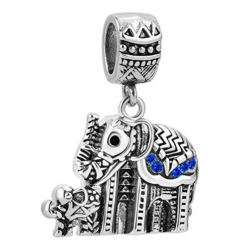 CharmSStory Elephant Charms Dangle Beads Charm for Bracelets (Mother Child Blue)