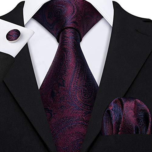 Silk Classic Cufflinks - Barry.Wang Men Red Paisley Necktie Classic Silk Floral with Pocket Square Cufflink Tie Clip