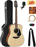 Takamine GD10NS Dreadnought Acoustic Guitar - Natural Satin Bundle with Hard Case, Tuner, Strap, Strings, Picks, Austin Bazaar Instructional DVD, and Polishing Cloth