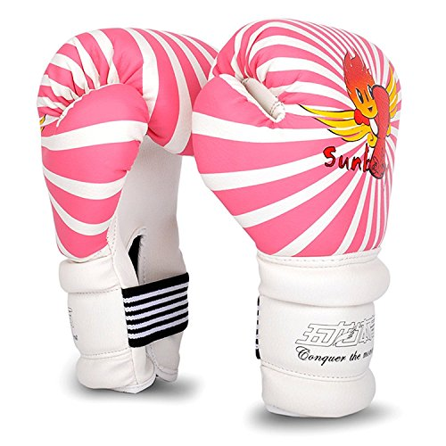 (Cheerwing 6oz PU Kids Boxing Gloves Junior Cartoon Punch Bag MMA Sparring Dajn Training, Pink)