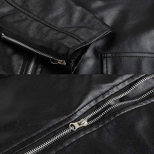 Mens Causal Belted Design Slim Pu Leather Biker Zipper Jacket Coat Faux Leather Motorcycle Jacket (Tag L=US S) by DUBUK (Image #2)