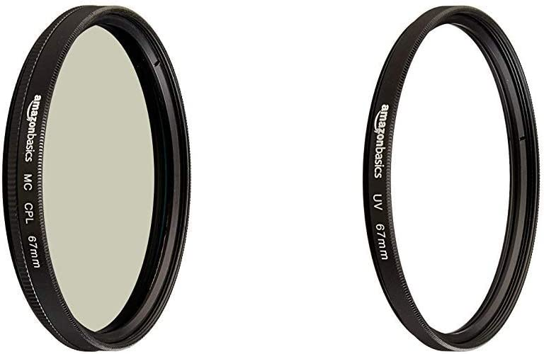AmazonBasics UV Protection Lens Filter and Circular Polarizer Lens Set - 67 mm