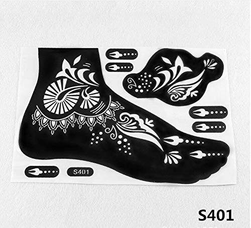 Henna Stencils 4pcs New Henna Tattoo Stencil Temporary Tatoo Paste Reuse Henna Tattoo Template Foot Painting Art Both Foot 16 Model Choose