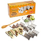 Taco Holder Stand - Set of 4 - Oven & Grill Safe Stainless Steel Taco Racks With Handles, 4 Metal Salsa Cups (2.5 Ounces) – Fill & Serve Tacos With Ease – Bonus Wooden Serving Spoon by Fiesta Kitchen