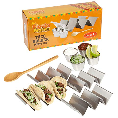 Taco Holder Stand - Set of 4 - Oven & Grill Safe Stainless Steel Taco Racks With Handles, 4 Metal Salsa Cups (2.5 Ounces) – Fill & Serve Tacos With Ease – Bonus Wooden Serving Spoon by Fiesta Kitc