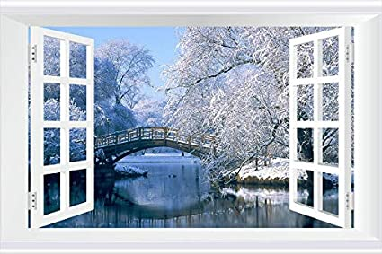 7b87020b2 Image Unavailable. Image not available for. Color  SHOBRILF Winter Landscape  - Nature -  2598 - Art Print 3D Fake Windows Wall Stickers