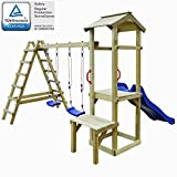 Festnight Set Playhouse Tower Playground Slide Ladder Swing Outdoor Garden - Pinewood, 286x228x218 cm
